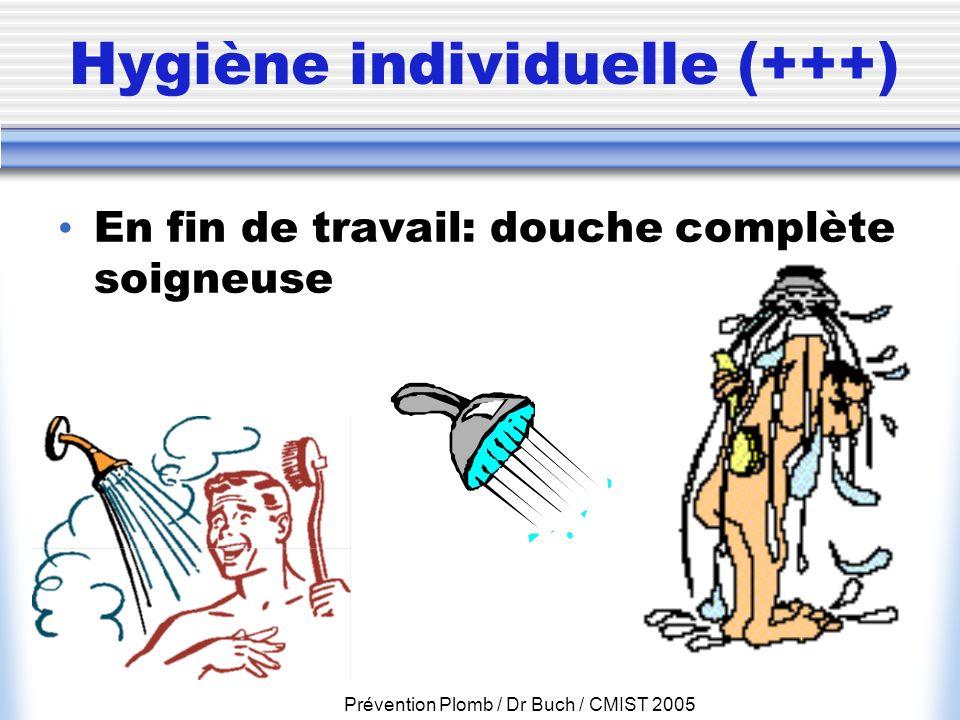 Prévention Plomb / Dr Buch / CMIST 2005 Hygiène individuelle (+++) En fin de travail: douche complète soigneuse