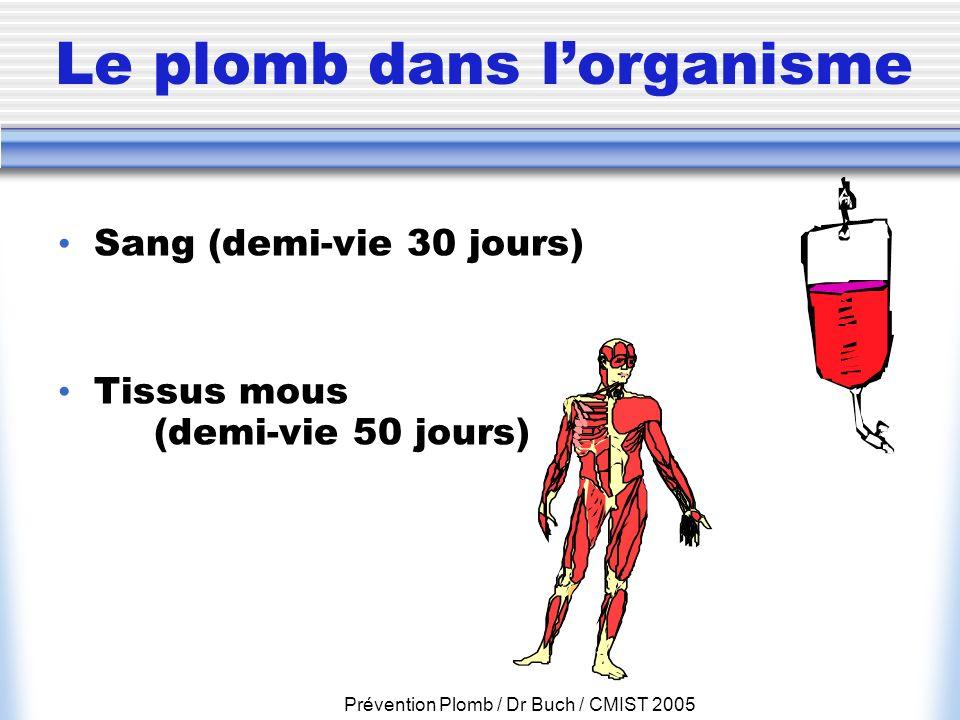 Prévention Plomb / Dr Buch / CMIST 2005 Le plomb dans lorganisme Sang (demi-vie 30 jours) Tissus mous (demi-vie 50 jours)