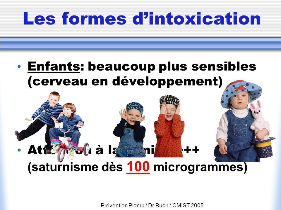 Prévention Plomb / Dr Buch / CMIST 2005 Les formes dintoxication Enfants: beaucoup plus sensibles (cerveau en développement) Attention à la famille ++