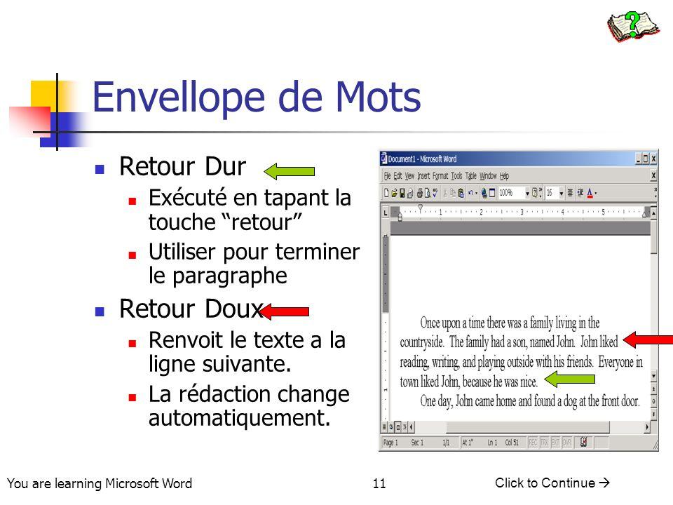 You are learning Microsoft Word Click to Continue 11 Envellope de Mots Retour Dur Exécuté en tapant la touche retour Utiliser pour terminer le paragraphe Retour Doux Renvoit le texte a la ligne suivante.