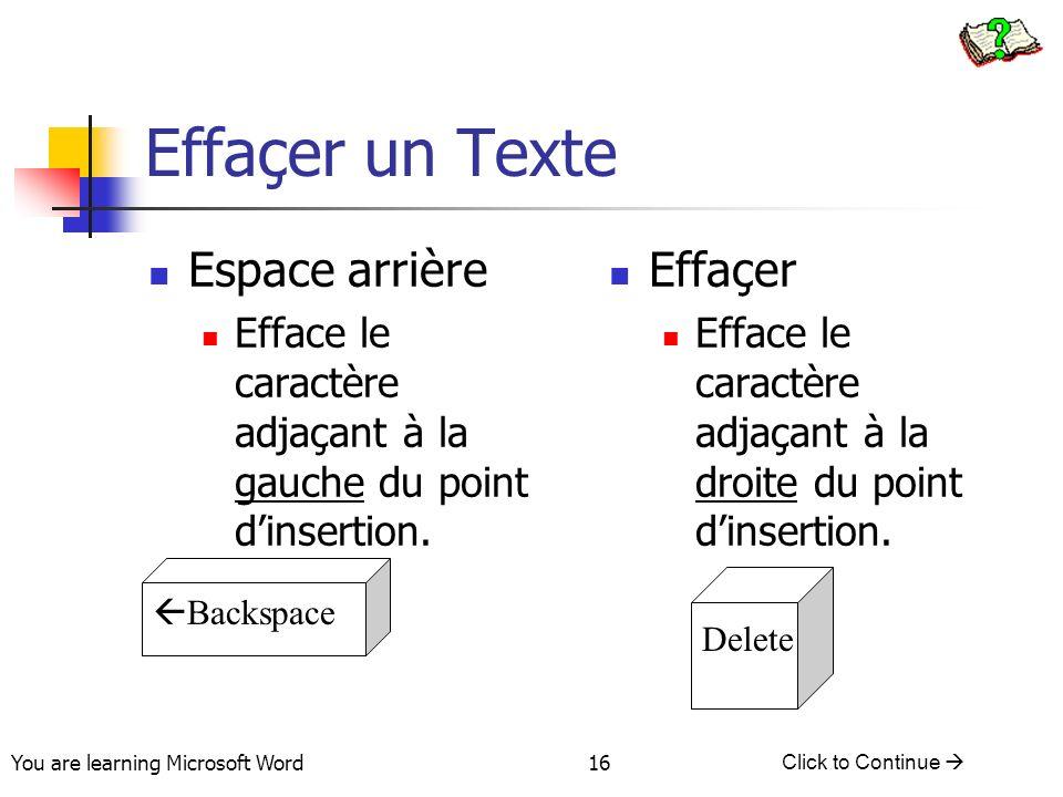 You are learning Microsoft Word Click to Continue 16 Effaçer un Texte Espace arrière Efface le caractère adjaçant à la gauche du point dinsertion.