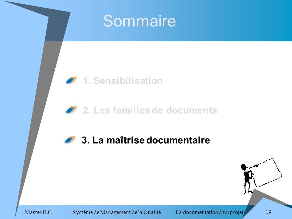 Master ILC Système de Management de la Qualité La documentation d un projet 19 Sommaire 1.