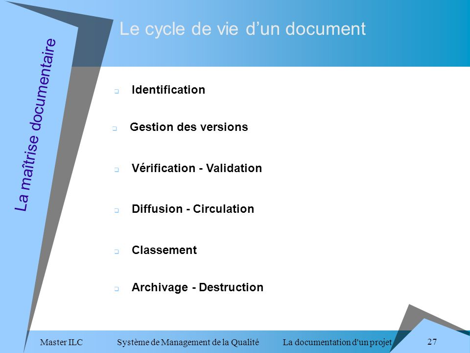 Master ILC Système de Management de la Qualité La documentation d un projet 27 Le cycle de vie dun document La maîtrise documentaire Identification Gestion des versions Vérification - Validation Diffusion - Circulation Classement Archivage - Destruction