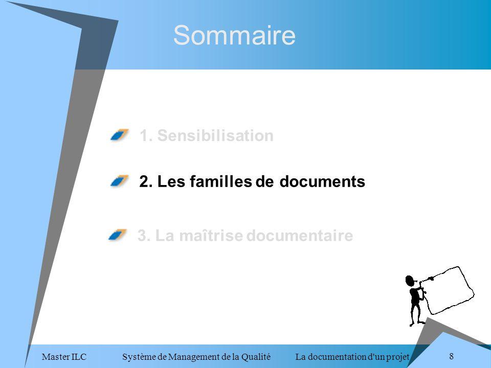 Master ILC Système de Management de la Qualité La documentation d un projet 8 Sommaire 1.