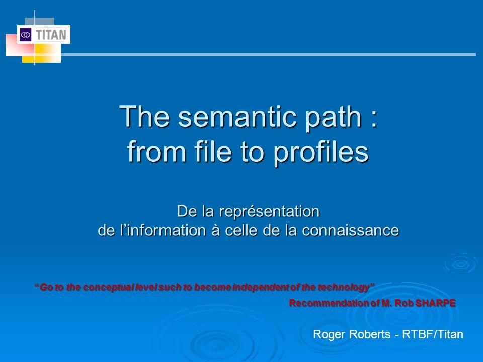 The semantic path : from file to profiles De la représentation de linformation à celle de la connaissance Roger Roberts - RTBF/Titan Go to the concept