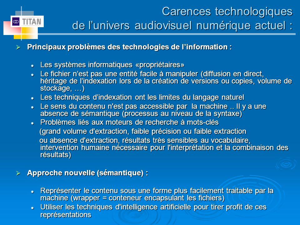 Carences technologiques de lunivers audiovisuel numérique actuel : Principaux problèmes des technologies de linformation : Principaux problèmes des te