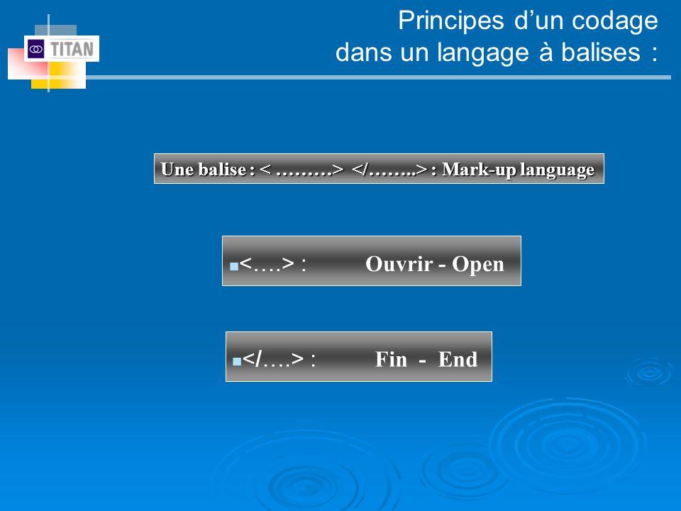 Principes dun codage dans un langage à balises : <….> : Ouvrir - Open </….> : Fin - End Une balise : < ………> </……..> : Mark-up language