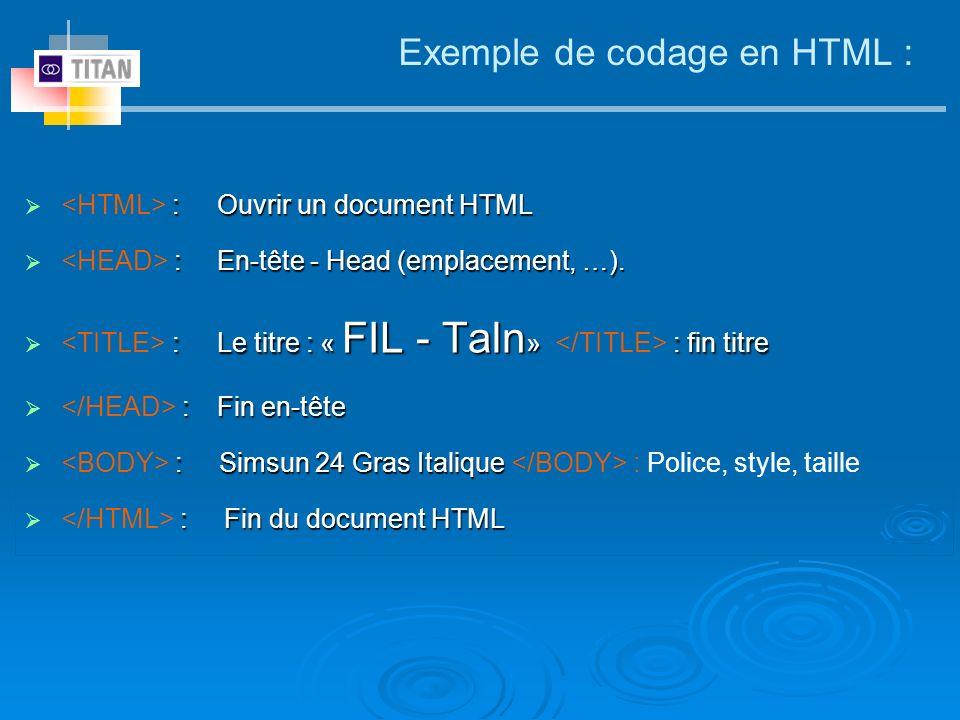 Exemple de codage en HTML : <HTML> :Ouvrir un document HTML <HEAD> :En-tête - Head (emplacement, …). <TITLE> :Le titre : « FIL - Taln» </TITLE> : fin
