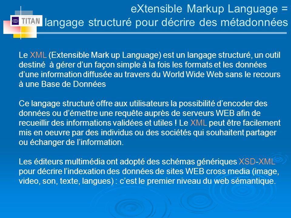 eXtensible Markup Language = langage structuré pour décrire des métadonnées Le XML (Extensible Mark up Language) est un langage structuré, un outil de