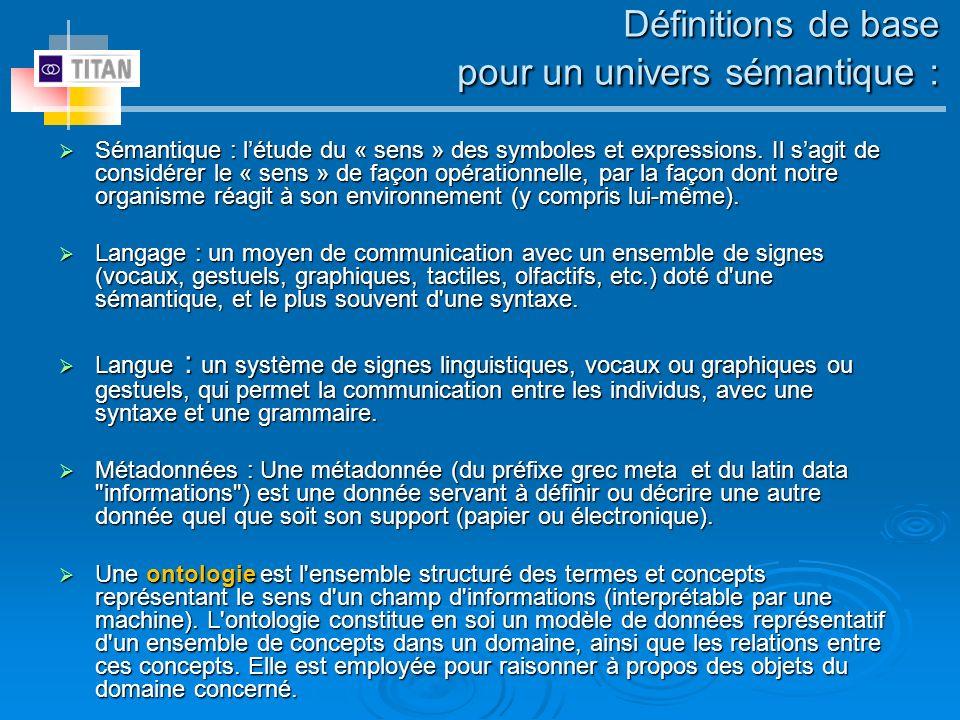 Définitions de base pour un univers sémantique : Sémantique : létude du « sens » des symboles et expressions. Il sagit de considérer le « sens » de fa