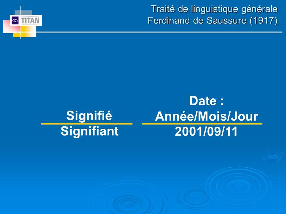 Traité de linguistique générale Ferdinand de Saussure (1917) Signifié Signifiant Date : Année/Mois/Jour 2001/09/11
