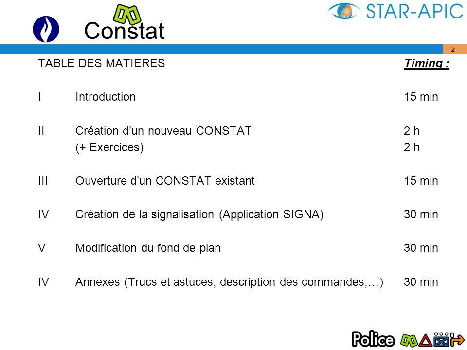 Constat 33 7.1 Report des distances : Cliquer sur licône pour activer la commande.