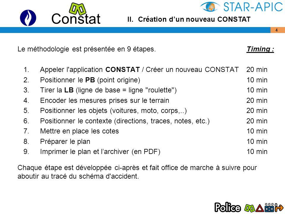 Constat 45 Description des commandes : Signalisation verticale : Panneaux de signalisation :chacune des commandes ouvre une bibliothèque de panneaux.