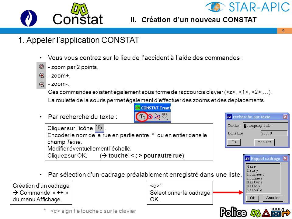 Constat 20 –Corps (par 3 points) Cliquer sur l icône L objet créé est un point symbolisé (= taille variable).