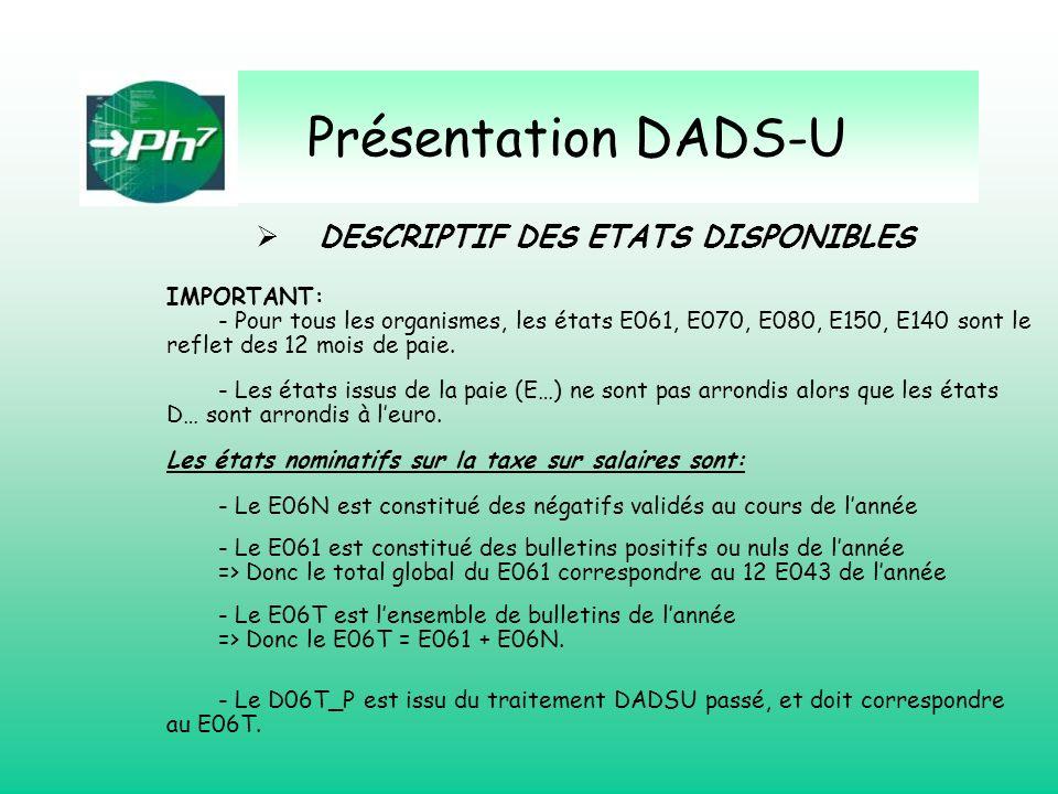 Présentation DADS-U DESCRIPTIF DES ETATS DISPONIBLES IMPORTANT: - Pour tous les organismes, les états E061, E070, E080, E150, E140 sont le reflet des