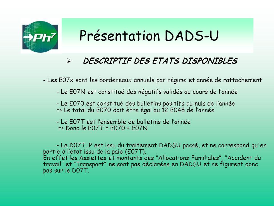 Présentation DADS-U - Les E07x sont les bordereaux annuels par régime et année de rattachement - Le E07N est constitué des négatifs validés au cours d