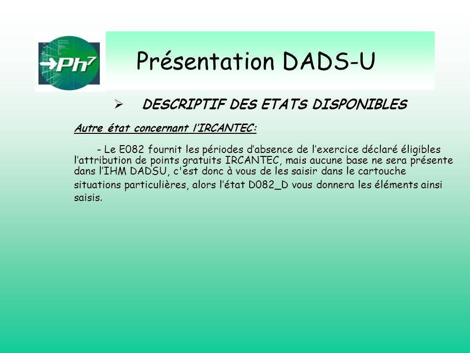 Présentation DADS-U Autre état concernant lIRCANTEC: - Le E082 fournit les périodes dabsence de lexercice déclaré éligibles lattribution de points gra