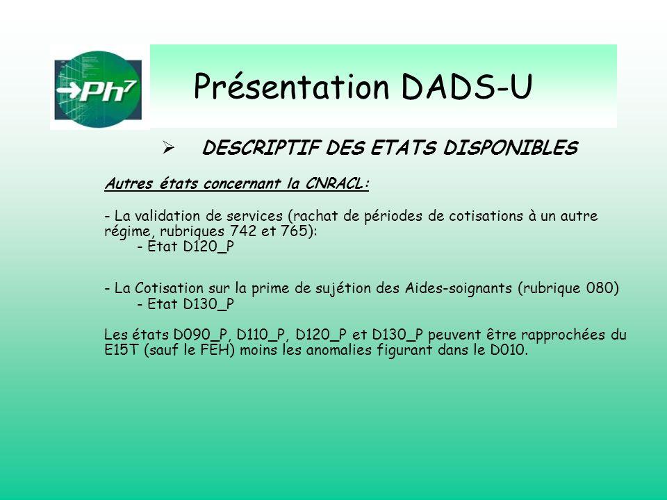 Présentation DADS-U Autres états concernant la CNRACL: - La validation de services (rachat de périodes de cotisations à un autre régime, rubriques 742
