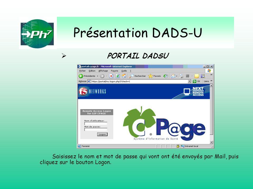 Présentation DADS-U PORTAIL DADSU Saisissez le nom et mot de passe qui vont ont été envoyés par Mail, puis cliquez sur le bouton Logon.