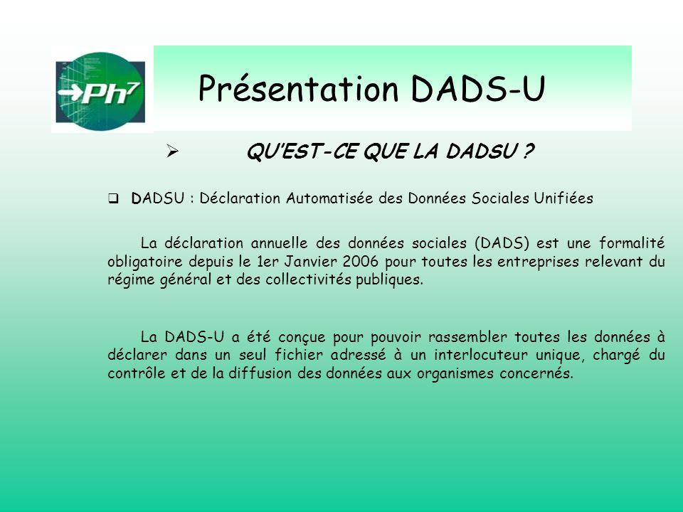 QUEST-CE QUE LA DADSU ? DADSU : Déclaration Automatisée des Données Sociales Unifiées La déclaration annuelle des données sociales (DADS) est une form