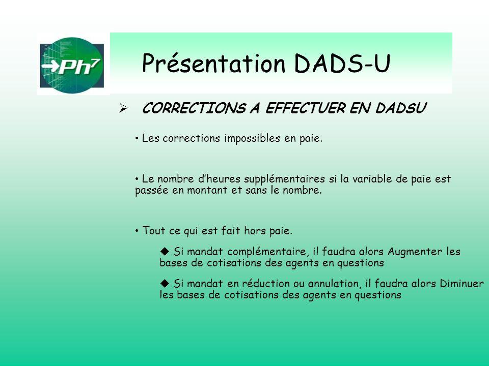 Présentation DADS-U CORRECTIONS A EFFECTUER EN DADSU Les corrections impossibles en paie. Le nombre dheures supplémentaires si la variable de paie est