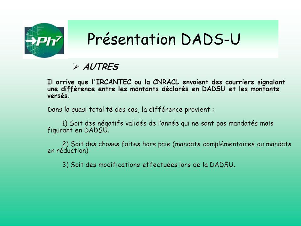 Présentation DADS-U AUTRES Il arrive que l'IRCANTEC ou la CNRACL envoient des courriers signalant une différence entre les montants déclarés en DADSU