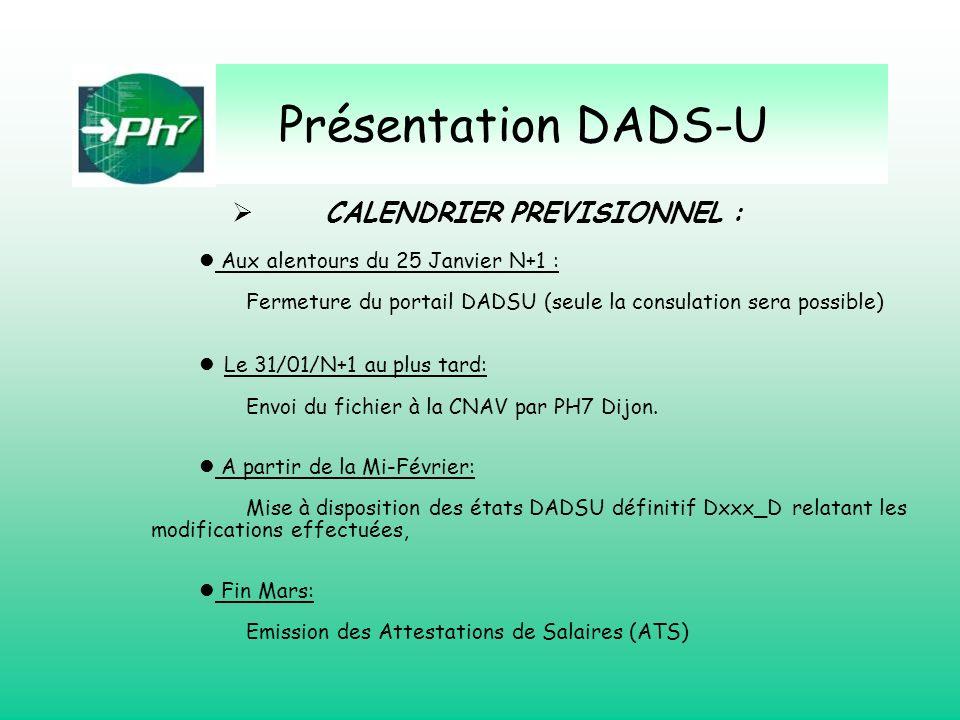 Présentation DADS-U CALENDRIER PREVISIONNEL : Aux alentours du 25 Janvier N+1 : Fermeture du portail DADSU (seule la consulation sera possible) Le 31/