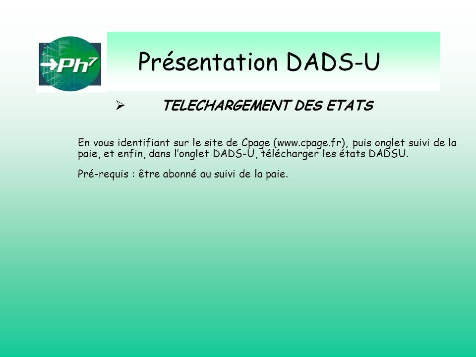 Présentation DADS-U TELECHARGEMENT DES ETATS En vous identifiant sur le site de Cpage (www.cpage.fr), puis onglet suivi de la paie, et enfin, dans lon