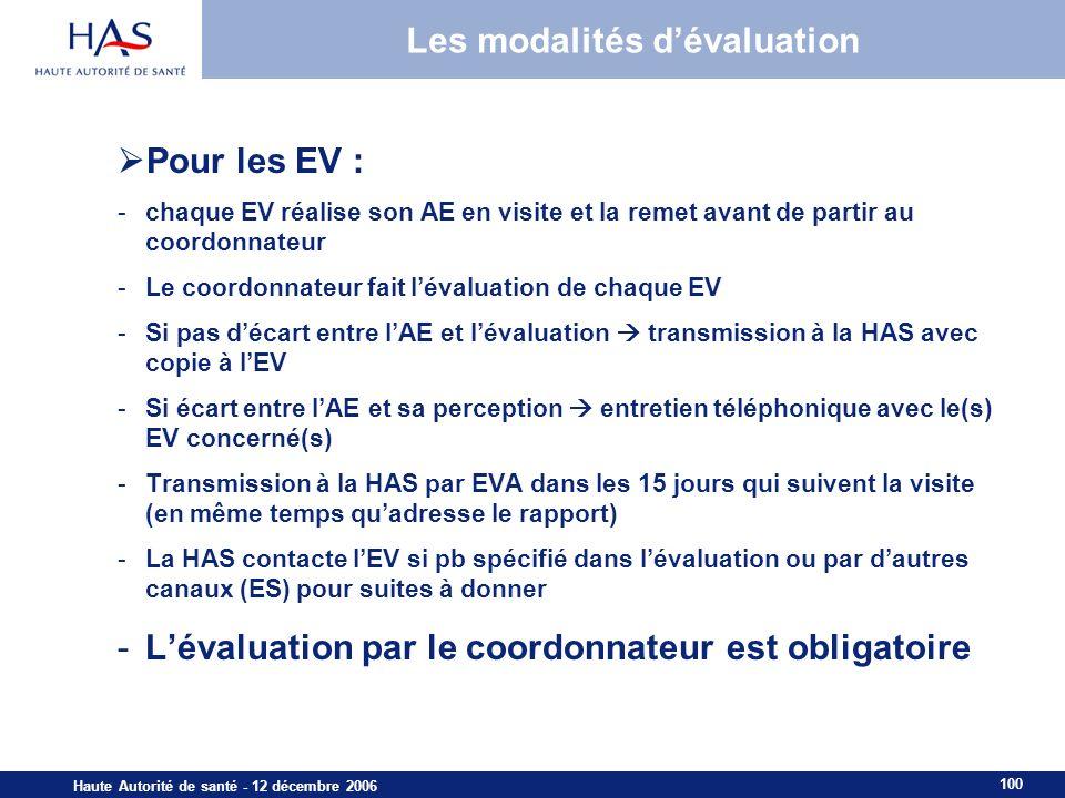 100 Haute Autorité de santé - 12 décembre 2006 Les modalités dévaluation Pour les EV : -chaque EV réalise son AE en visite et la remet avant de partir au coordonnateur -Le coordonnateur fait lévaluation de chaque EV -Si pas décart entre lAE et lévaluation transmission à la HAS avec copie à lEV -Si écart entre lAE et sa perception entretien téléphonique avec le(s) EV concerné(s) -Transmission à la HAS par EVA dans les 15 jours qui suivent la visite (en même temps quadresse le rapport) -La HAS contacte lEV si pb spécifié dans lévaluation ou par dautres canaux (ES) pour suites à donner -Lévaluation par le coordonnateur est obligatoire