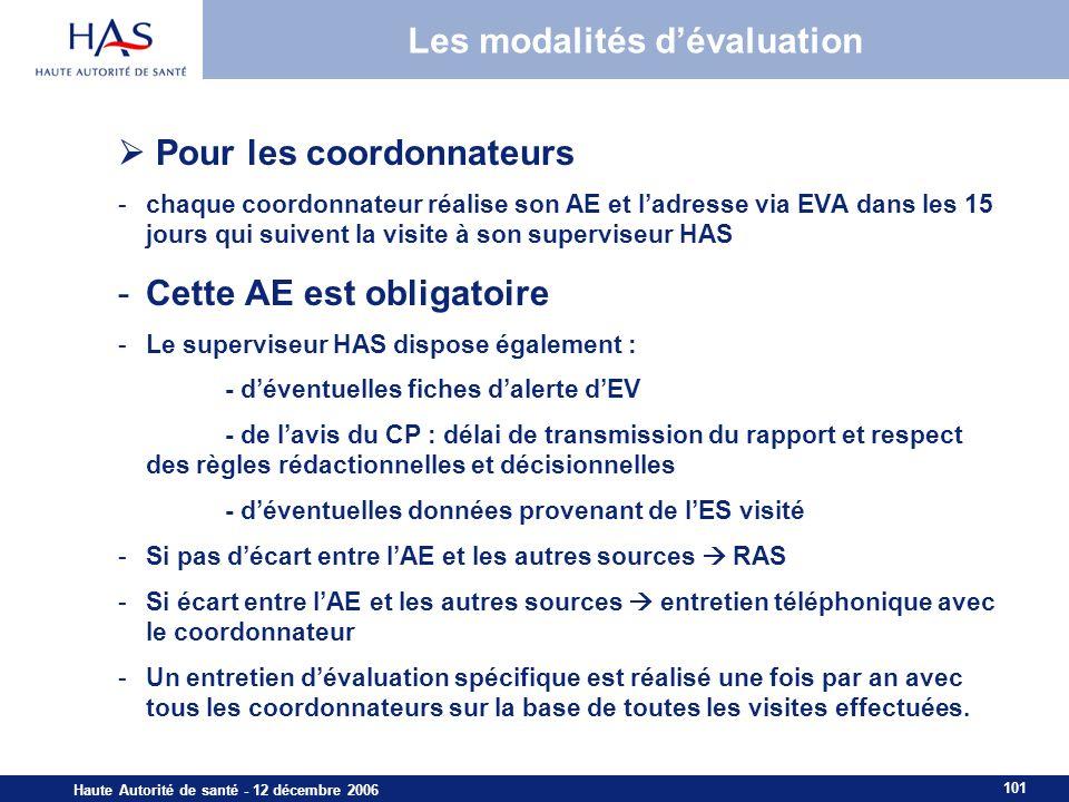 101 Haute Autorité de santé - 12 décembre 2006 Les modalités dévaluation Pour les coordonnateurs -chaque coordonnateur réalise son AE et ladresse via
