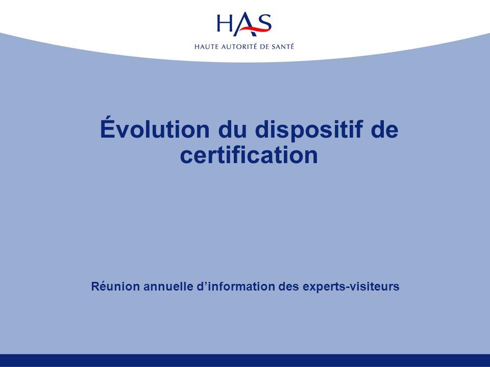 Évolution du dispositif de certification Réunion annuelle dinformation des experts-visiteurs