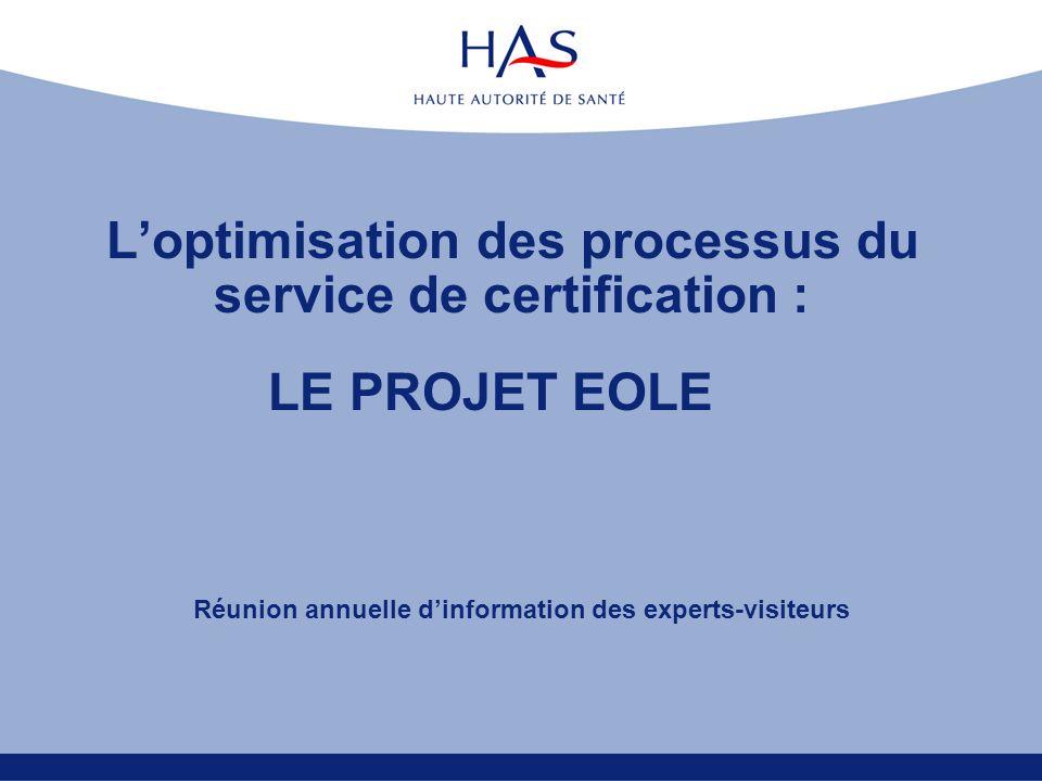 Loptimisation des processus du service de certification : Réunion annuelle dinformation des experts-visiteurs LE PROJET EOLE