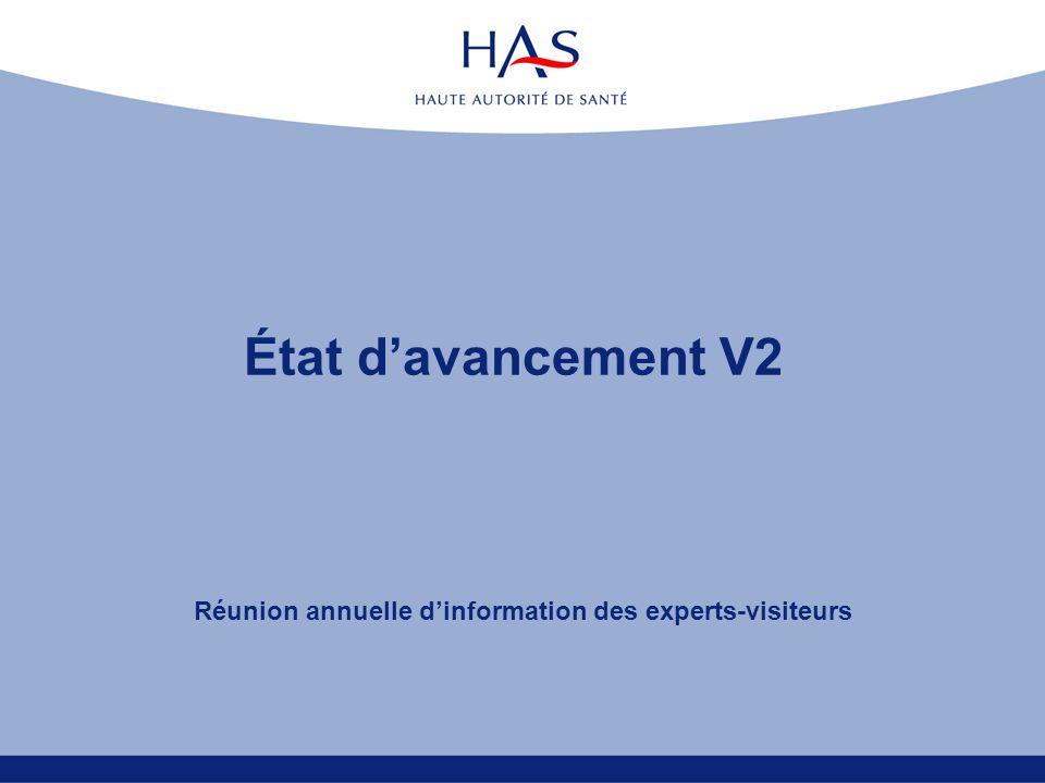 État davancement V2 Réunion annuelle dinformation des experts-visiteurs