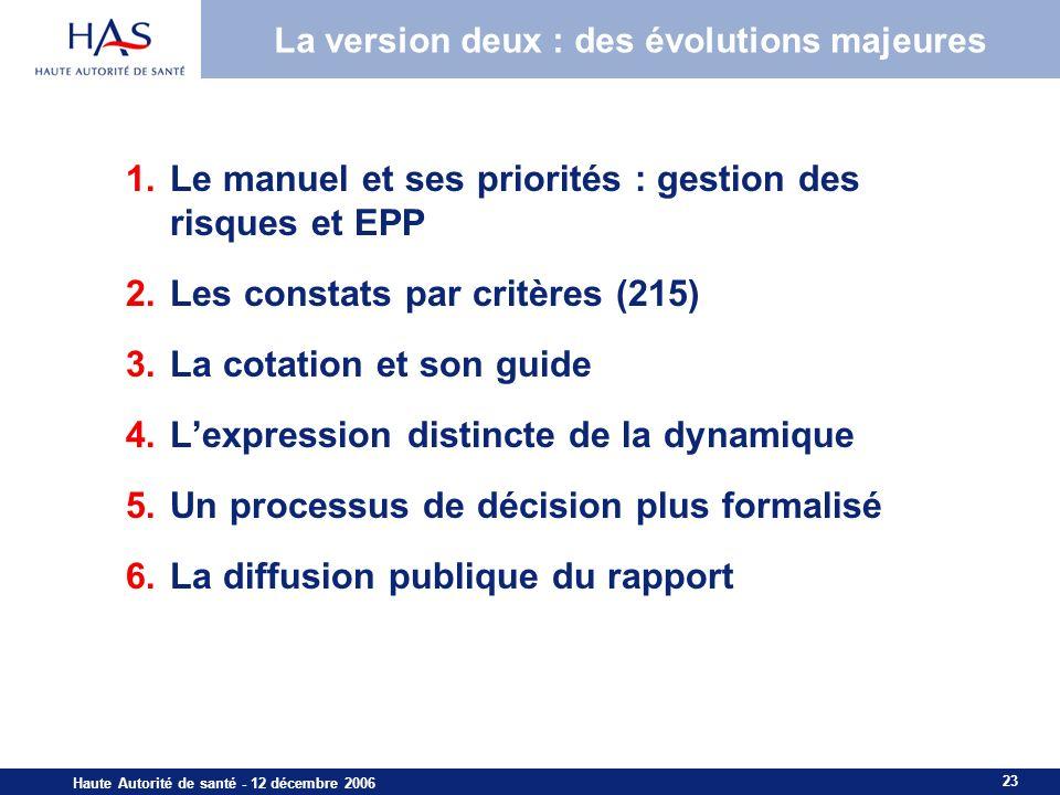 23 Haute Autorité de santé - 12 décembre 2006 La version deux : des évolutions majeures 1.Le manuel et ses priorités : gestion des risques et EPP 2.Le