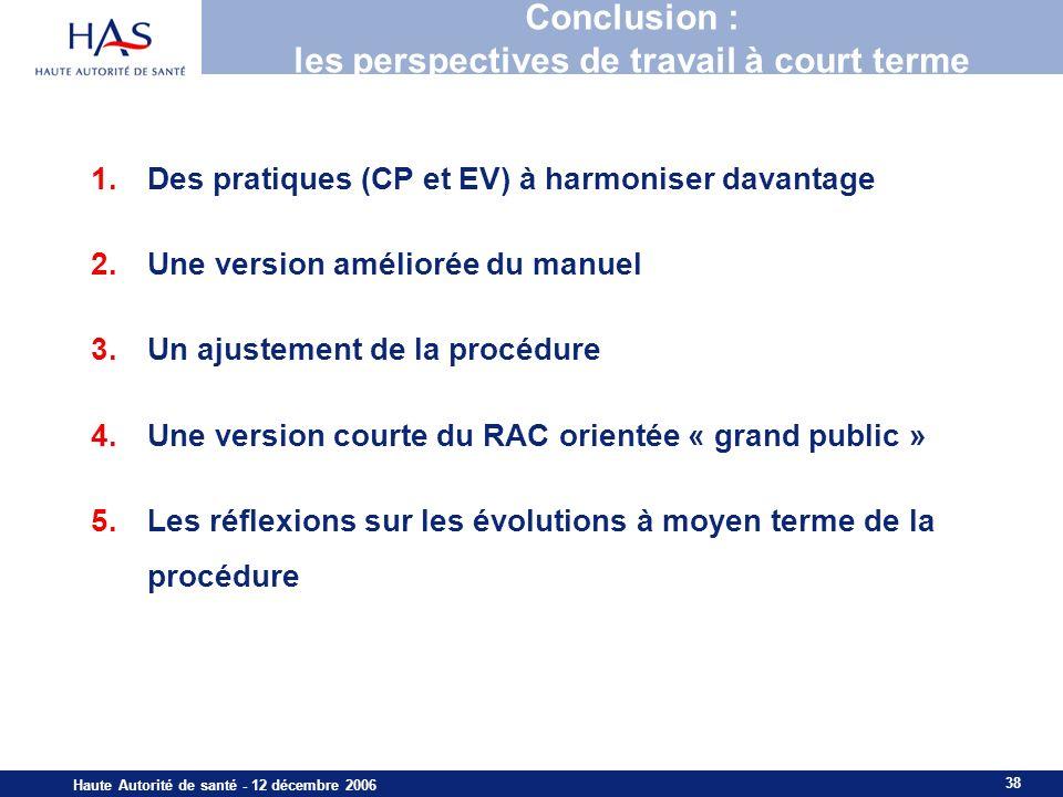 38 Haute Autorité de santé - 12 décembre 2006 Conclusion : les perspectives de travail à court terme 1.Des pratiques (CP et EV) à harmoniser davantage