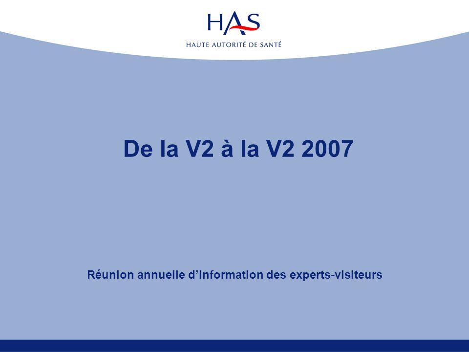 De la V2 à la V2 2007 Réunion annuelle dinformation des experts-visiteurs