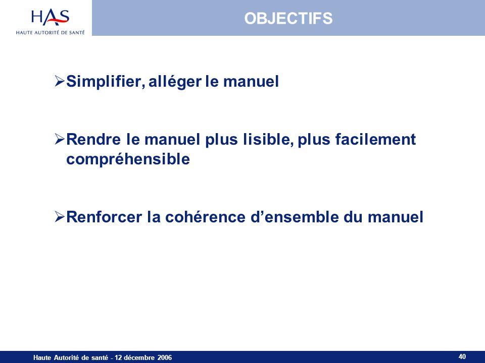 40 Haute Autorité de santé - 12 décembre 2006 OBJECTIFS Simplifier, alléger le manuel Rendre le manuel plus lisible, plus facilement compréhensible Renforcer la cohérence densemble du manuel