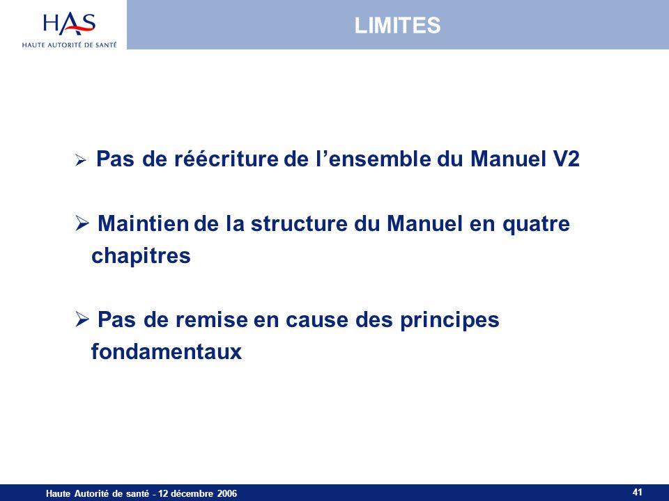 41 Haute Autorité de santé - 12 décembre 2006 LIMITES Pas de réécriture de lensemble du Manuel V2 Maintien de la structure du Manuel en quatre chapitres Pas de remise en cause des principes fondamentaux