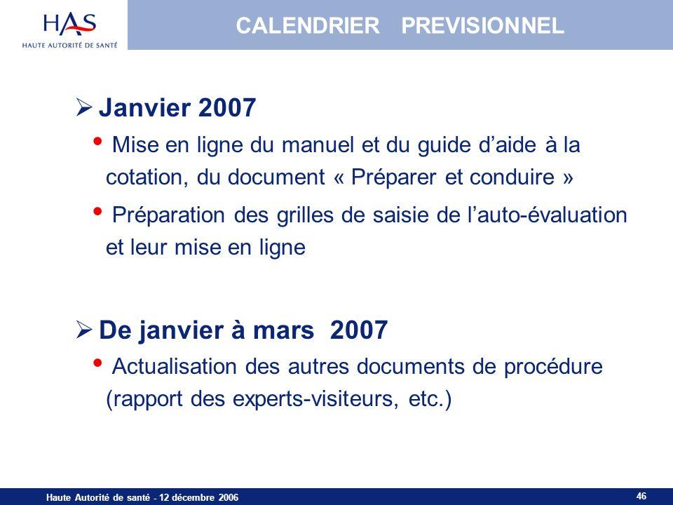 46 Haute Autorité de santé - 12 décembre 2006 CALENDRIER PREVISIONNEL Janvier 2007 Mise en ligne du manuel et du guide daide à la cotation, du documen