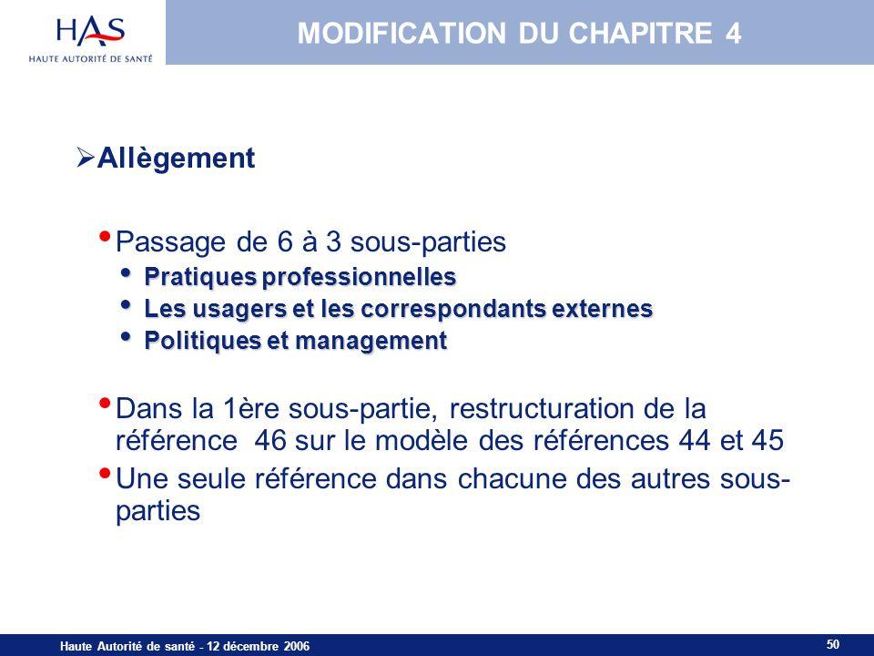 50 Haute Autorité de santé - 12 décembre 2006 MISSIONS PRINCIPALES MODIFICATION DU CHAPITRE 4 Allègement Passage de 6 à 3 sous-parties Pratiques profe