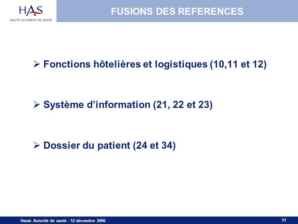 51 Haute Autorité de santé - 12 décembre 2006 FUSIONS DES REFERENCES Fonctions hôtelières et logistiques (10,11 et 12) Système dinformation (21, 22 et 23) Dossier du patient (24 et 34)