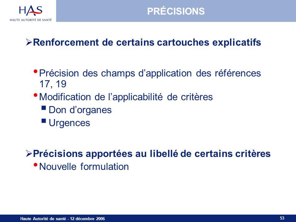 53 Haute Autorité de santé - 12 décembre 2006 PRÉCISIONS Renforcement de certains cartouches explicatifs Précision des champs dapplication des référen