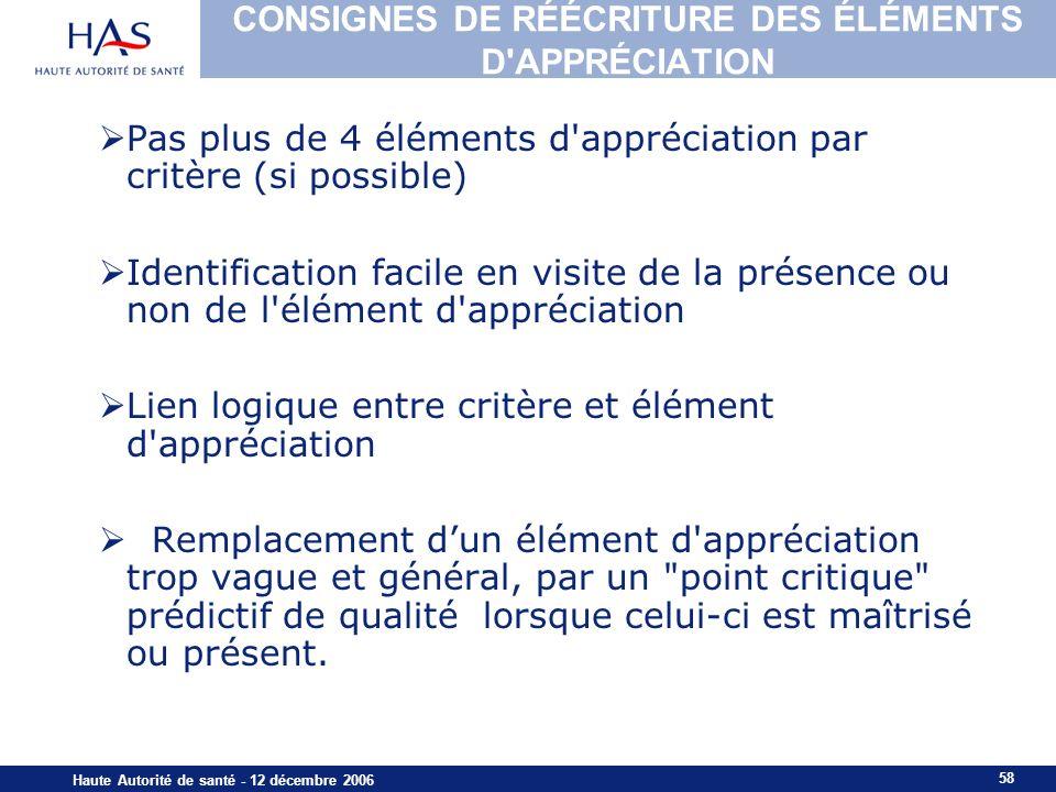 58 Haute Autorité de santé - 12 décembre 2006 CONSIGNES DE RÉÉCRITURE DES ÉLÉMENTS D'APPRÉCIATION Pas plus de 4 éléments d'appréciation par critère (s