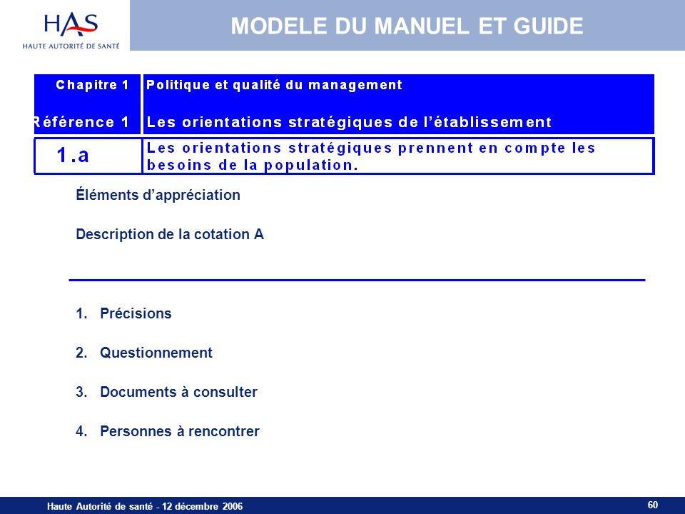 60 Haute Autorité de santé - 12 décembre 2006 MODELE DU MANUEL ET GUIDE Éléments dappréciation Description de la cotation A 1.Précisions 2.Questionnem
