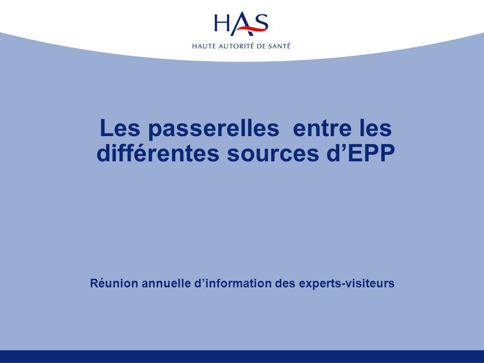 Les passerelles entre les différentes sources dEPP Réunion annuelle dinformation des experts-visiteurs