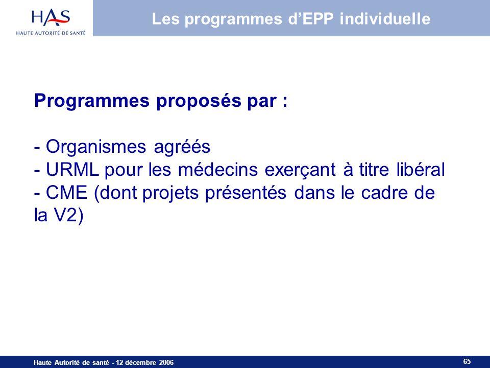 65 Haute Autorité de santé - 12 décembre 2006 Programmes proposés par : - Organismes agréés - URML pour les médecins exerçant à titre libéral - CME (dont projets présentés dans le cadre de la V2) HAS – Mission Formation – ML – Sept.
