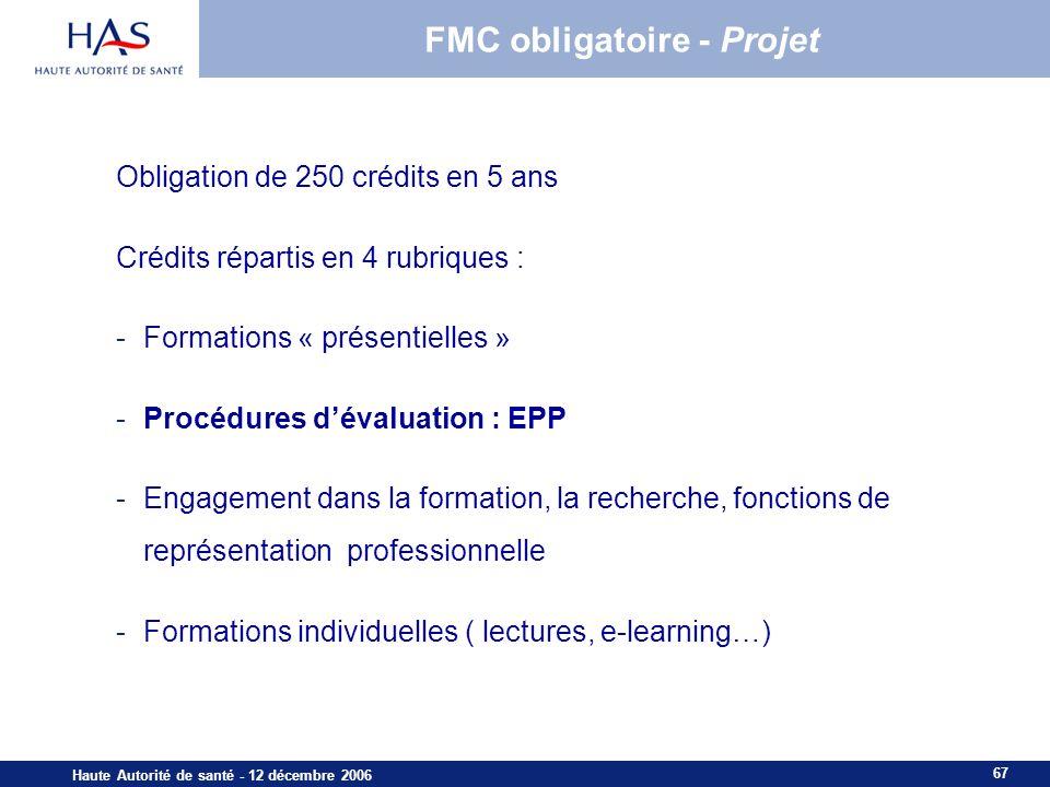 67 Haute Autorité de santé - 12 décembre 2006 FMC obligatoire - Projet Obligation de 250 crédits en 5 ans Crédits répartis en 4 rubriques : -Formations « présentielles » -Procédures dévaluation : EPP -Engagement dans la formation, la recherche, fonctions de représentation professionnelle -Formations individuelles ( lectures, e-learning…)