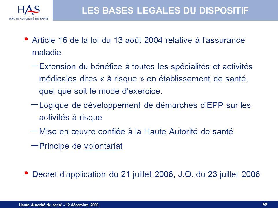 69 Haute Autorité de santé - 12 décembre 2006 Article 16 de la loi du 13 août 2004 relative à lassurance maladie – Extension du bénéfice à toutes les