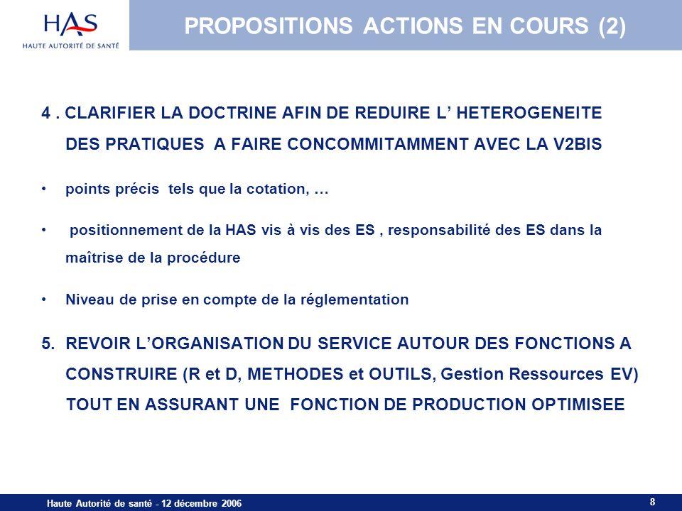 8 Haute Autorité de santé - 12 décembre 2006 PROPOSITIONS ACTIONS EN COURS (2) 4. CLARIFIER LA DOCTRINE AFIN DE REDUIRE L HETEROGENEITE DES PRATIQUES