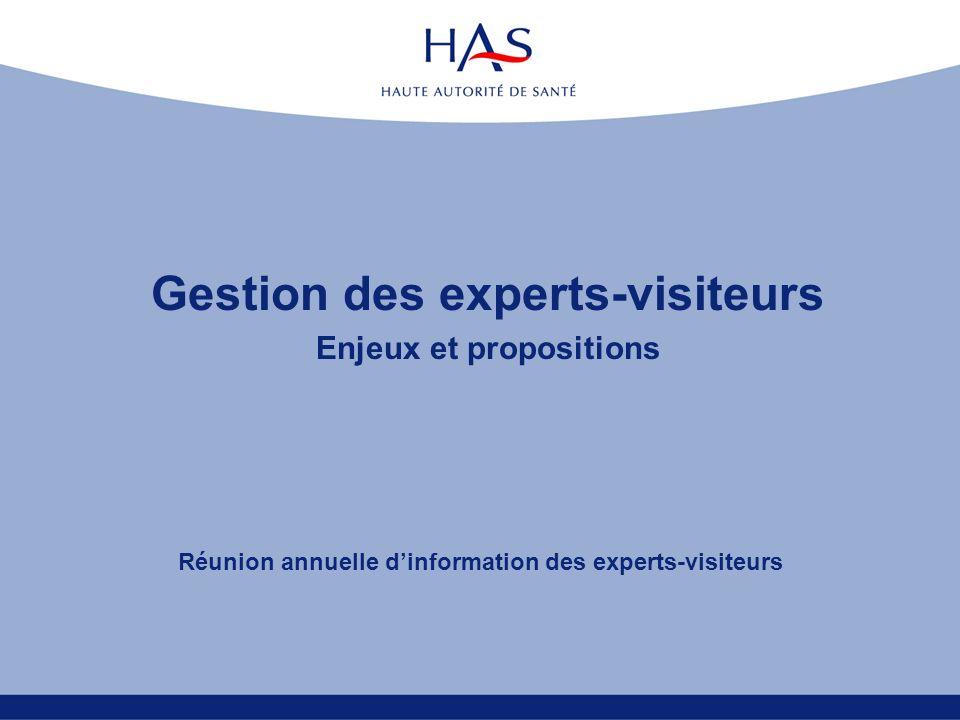 Gestion des experts-visiteurs Enjeux et propositions Réunion annuelle dinformation des experts-visiteurs